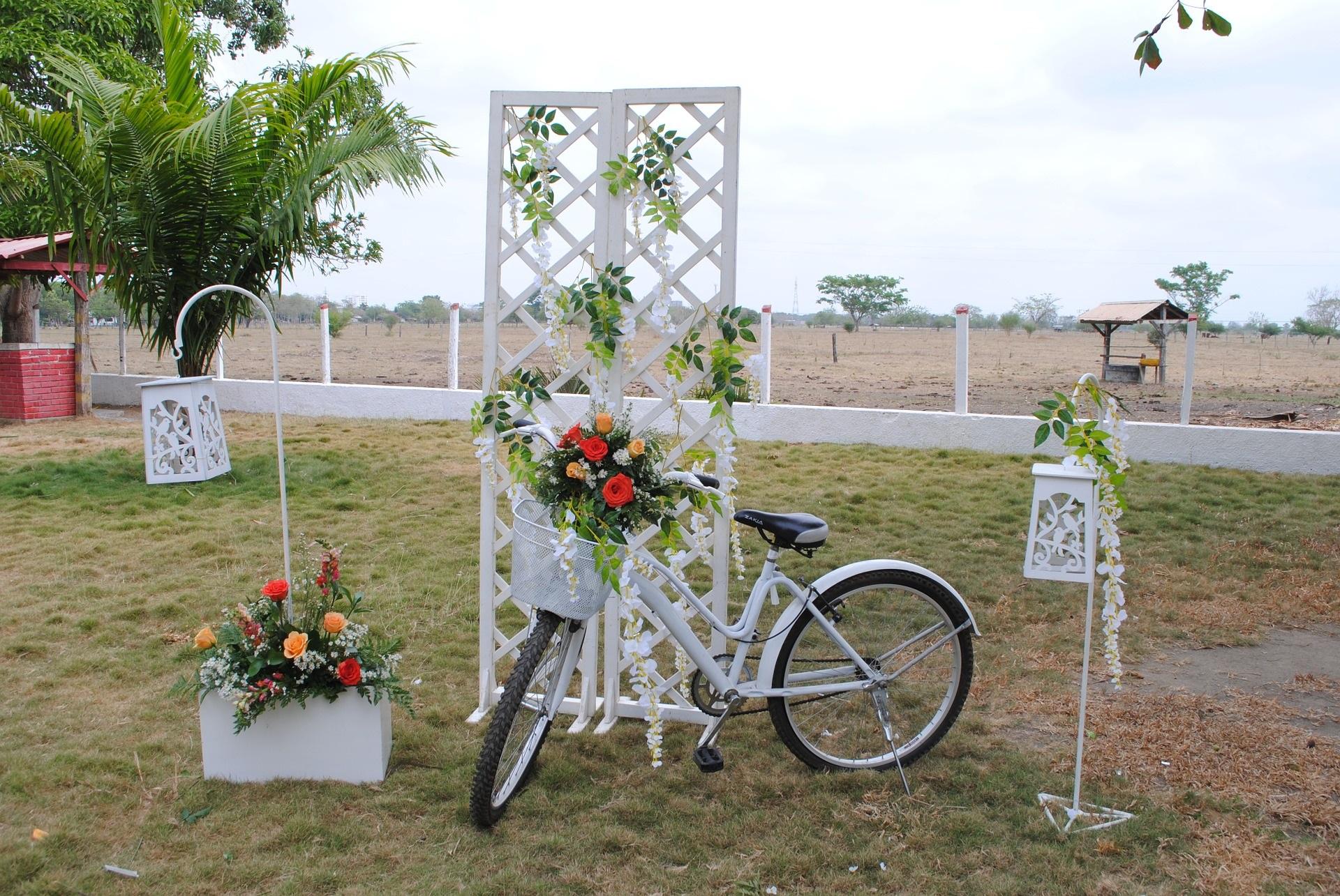 Gartenhochzeit, geschmücktes Fahrrad - Trends 2019