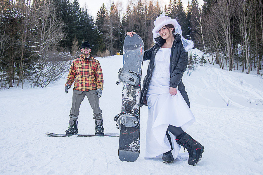 Im Schnee - mit Snowboard