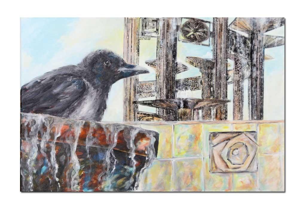 Acrylbild 60 x 40 cm Vogelbad am Brunnen der Völkerfreundschaft in Berlin