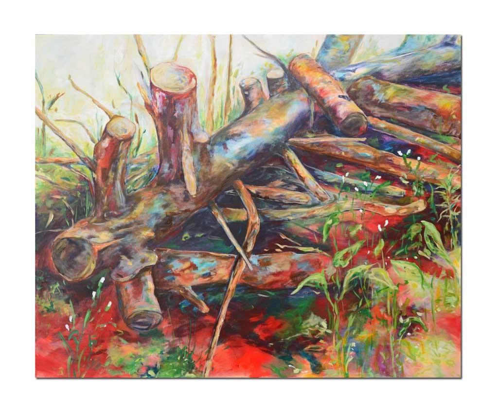 Acrylbild 100 x 80 cm Unterholz