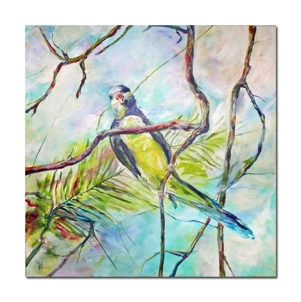 Acrylbild 100 x100 Fuerteventura Sittich beim Nestbau