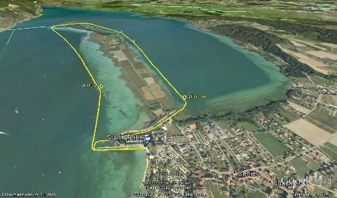 Streckenansicht des Longdistance Stand Up Paddling Rennen um die St. Petersinsel, organisiert von SUPSTATION.ch
