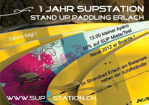 Einladungsflyer Stand Up Paddling Erlach am Bielersee von SUPSTATION.ch