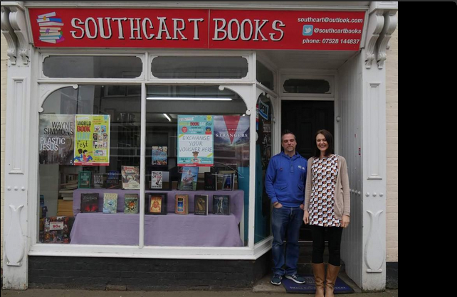 Southcart Books' Manager Scott Southey with Author Tanya Bullock