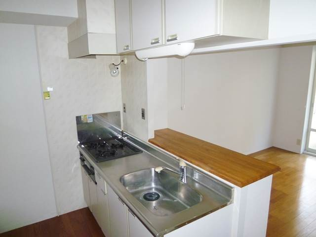 3口のガスコンロ付きの対面キッチン