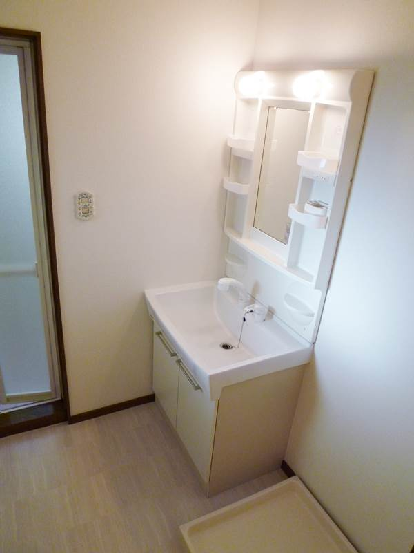 シャワー付き洗面台、横は洗濯機置場