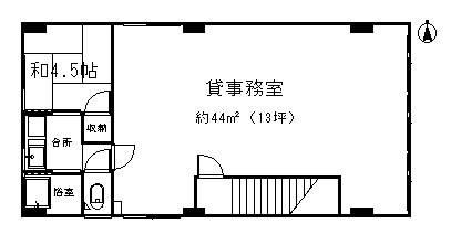 肴町-貸事務所2階間取図
