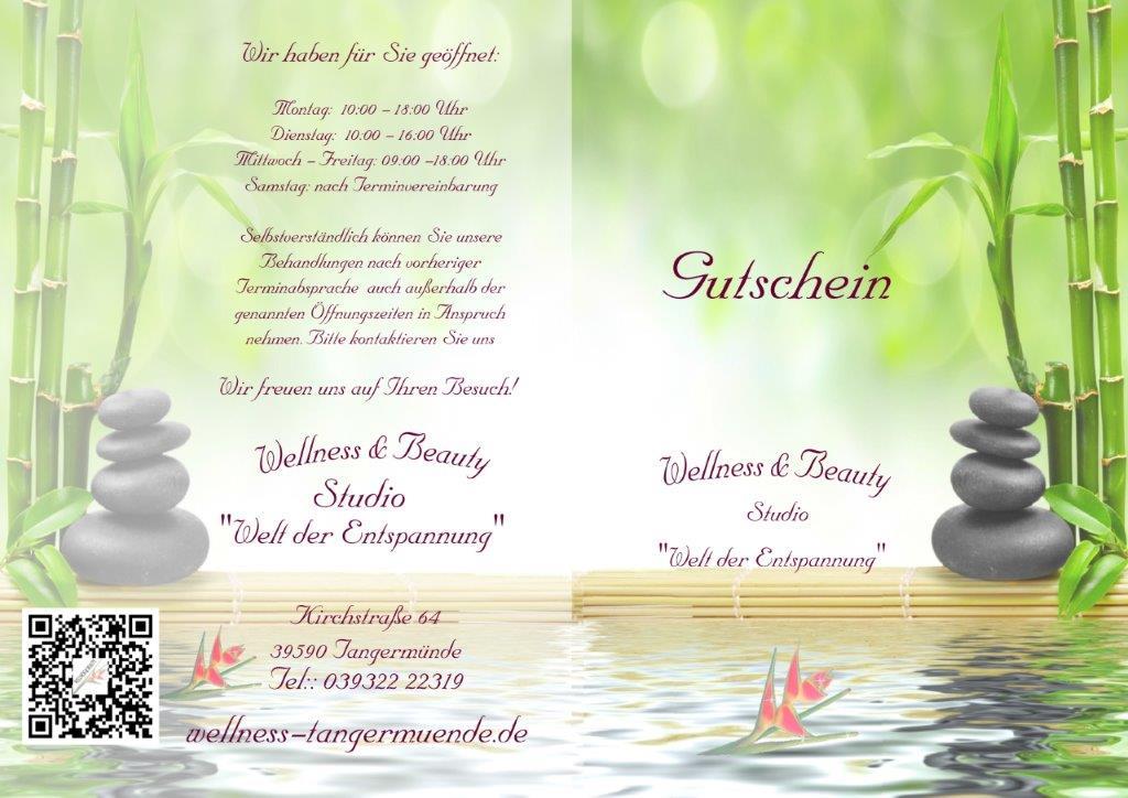 Wellness gutschein  Wert-Gutscheine - Wellness & Beauty Studio Welt der Entspannung ...