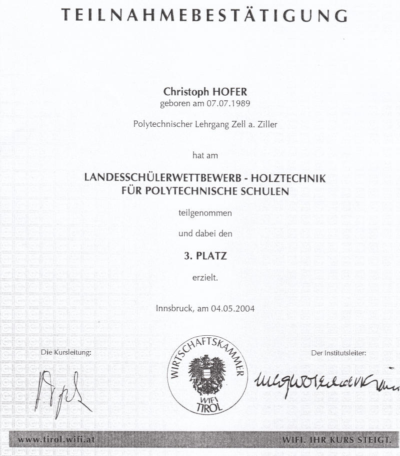 Christoph Hofer (Aschau) belegte beim Landeswettbewerb Holztechnik den 3. Platz