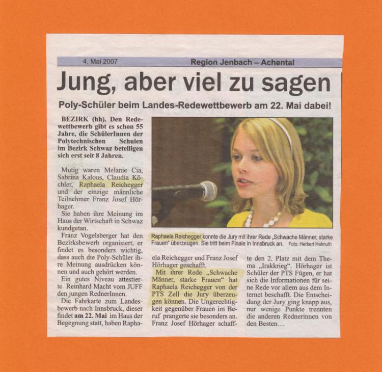 Raphaela Reichegger (Aschau) gewinnt Redewettbewerb