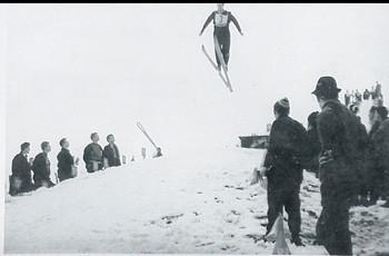 Skihütte: Skispringen in den 1960er Jahren.