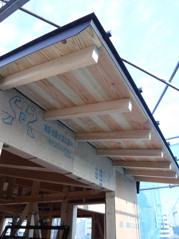 南側の屋根軒先を化粧垂木と野地板で表しています