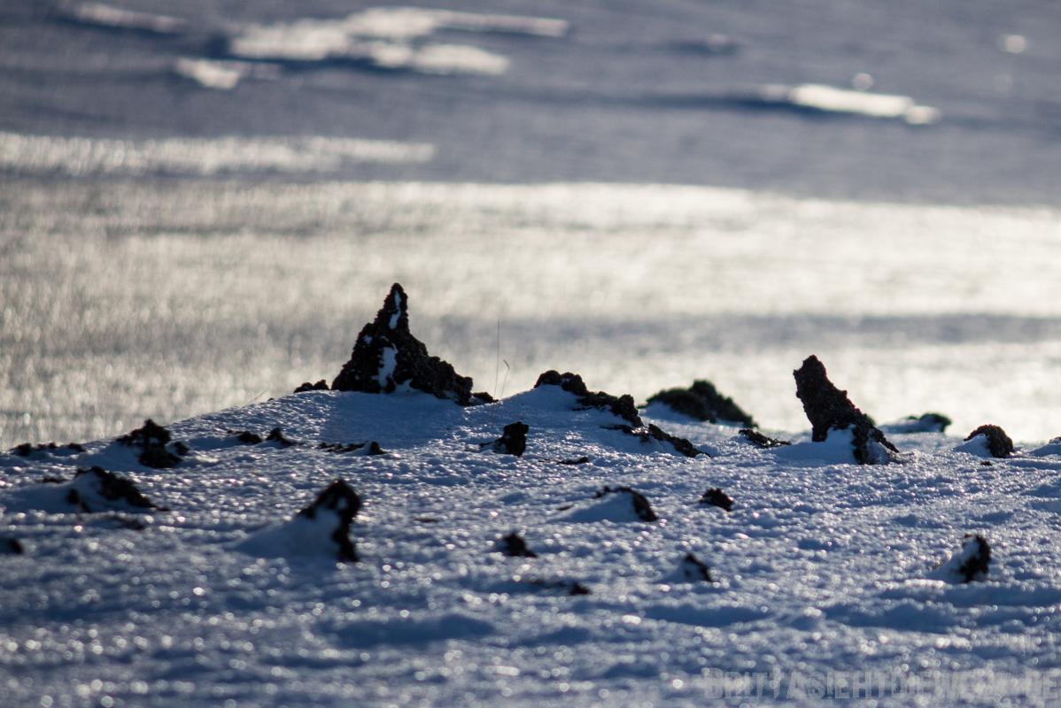 Lavafeld unter Schnee