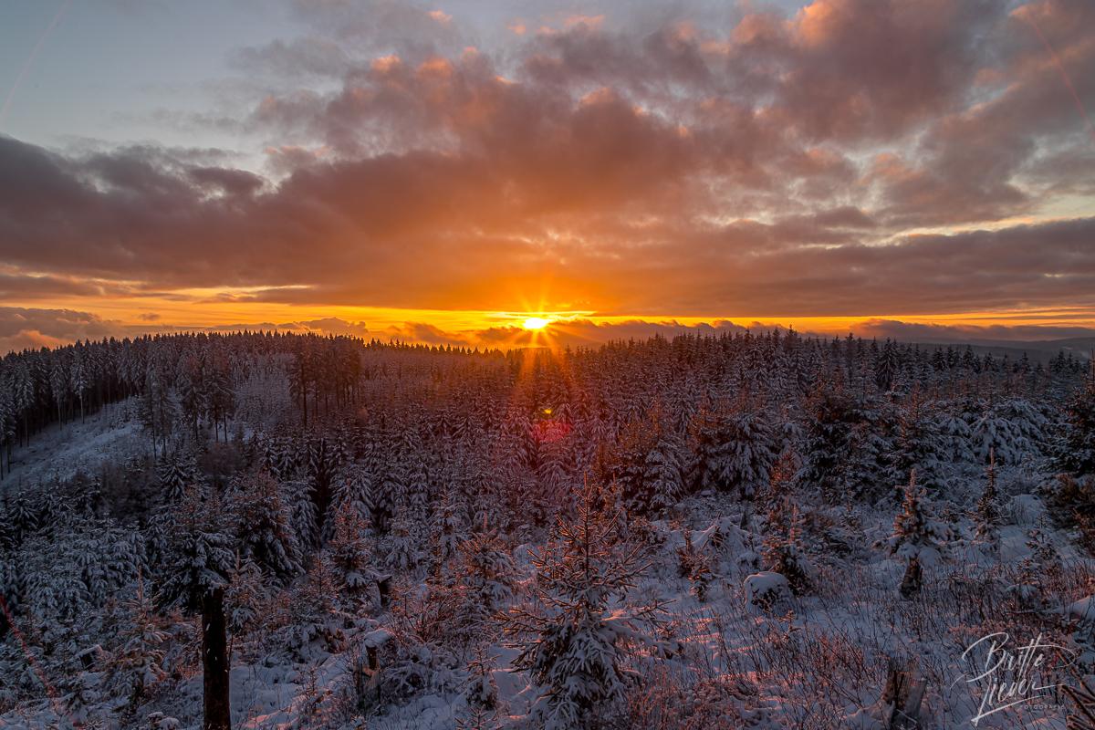 Sauerland - Neujahrswanderung im Schnee mit Sonnenuntergang
