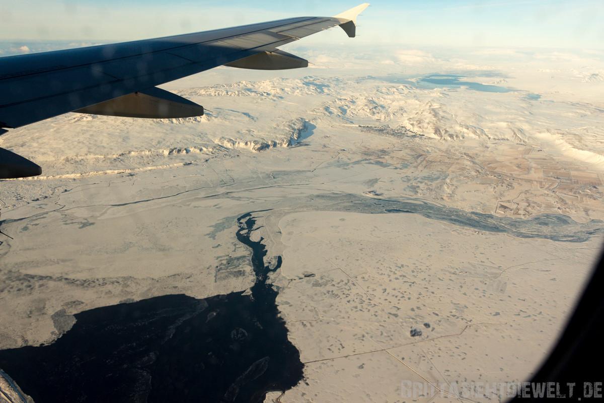 Mündung des Flusses  Ölfusá in den Atlantik