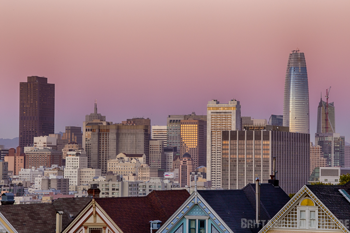 painted,ladies,alamo,square,san,francisco,view,sunset,night,lights,long,exposure,downtown