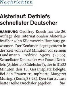 Dethlefs bester Deutscher beim Alsterlauf