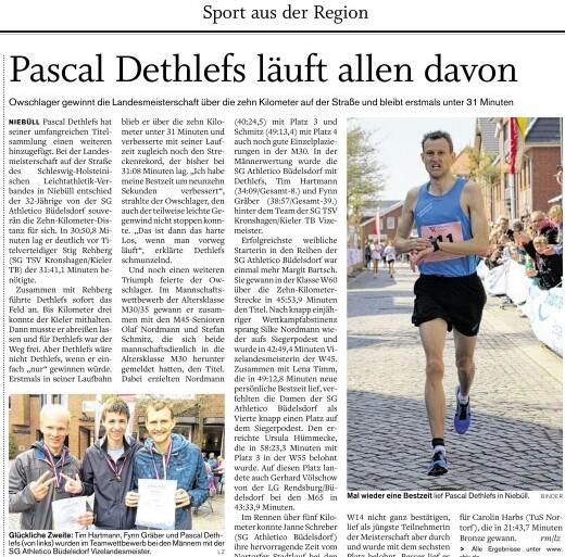 Landesmeister 10 km 2015 Pascal Dethlefs