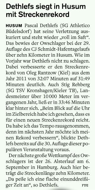 Dethlefs Husum in Streckenrekordzeit