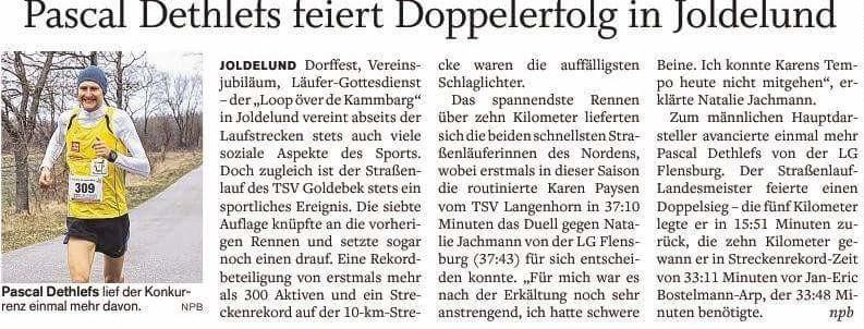 Doppelsieg Pascal im Flensburger Tageblatt