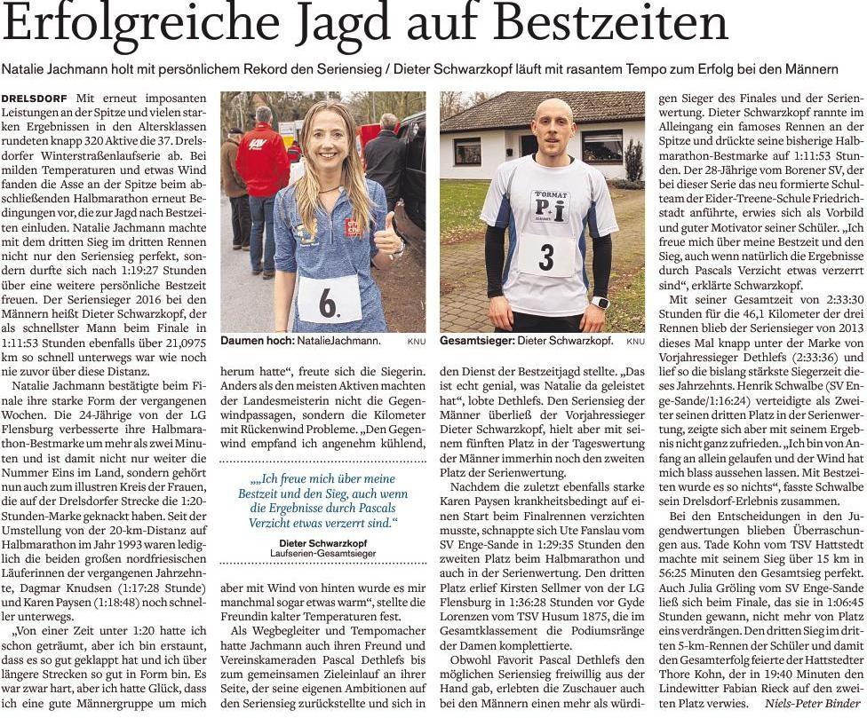 Bericht aus dem Nordfriesland Tagenlatt zum Abschluss der Drelsdorflaufserie