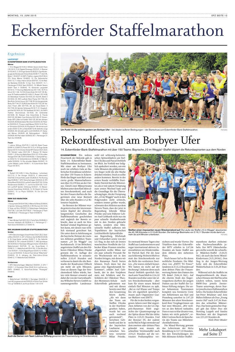 Staffelmarathon Eckernförde 2. Platz