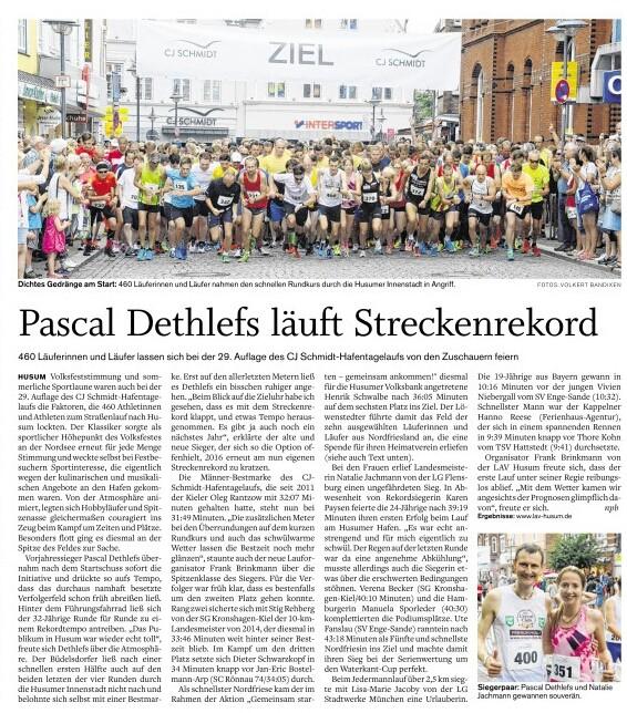 Streckenrekord Pascal Dethlefs Hafentagelauf Husum