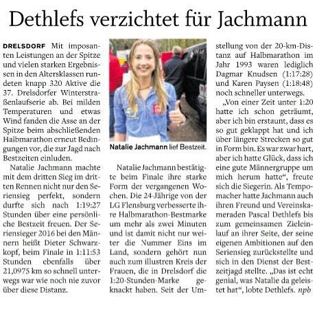 Abschluss der Drelsdorflaufserie Natalie mit Bestzeit
