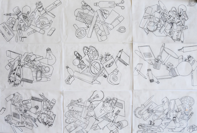 Teil 2:Trotz Abpausen der gleichen Bildvorlagen sind die Zeichnungen doch sehr individuell in ihrem Arrangement!