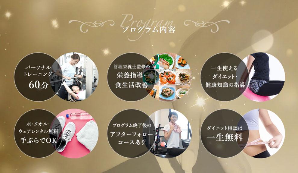 女性ボディメイクプログラム内容、大阪の人気パーソナルトレーニングジム【ファーストクラストレーナーズ】ボディメイク、ダイエット、筋トレ、スタイルアップ、美尻、美脚