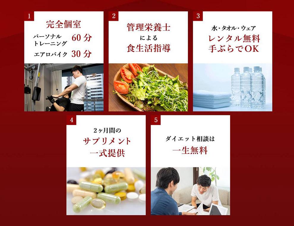 男性用ボディメイクプログラムの特徴、大阪の人気パーソナルトレーニングジム【ファーストクラストレーナーズ】ボディメイク、ダイエット、筋トレ、スタイルアップ