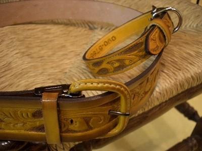 牛革ベルト&首輪 ベルト:25,000円 首輪:19,000円