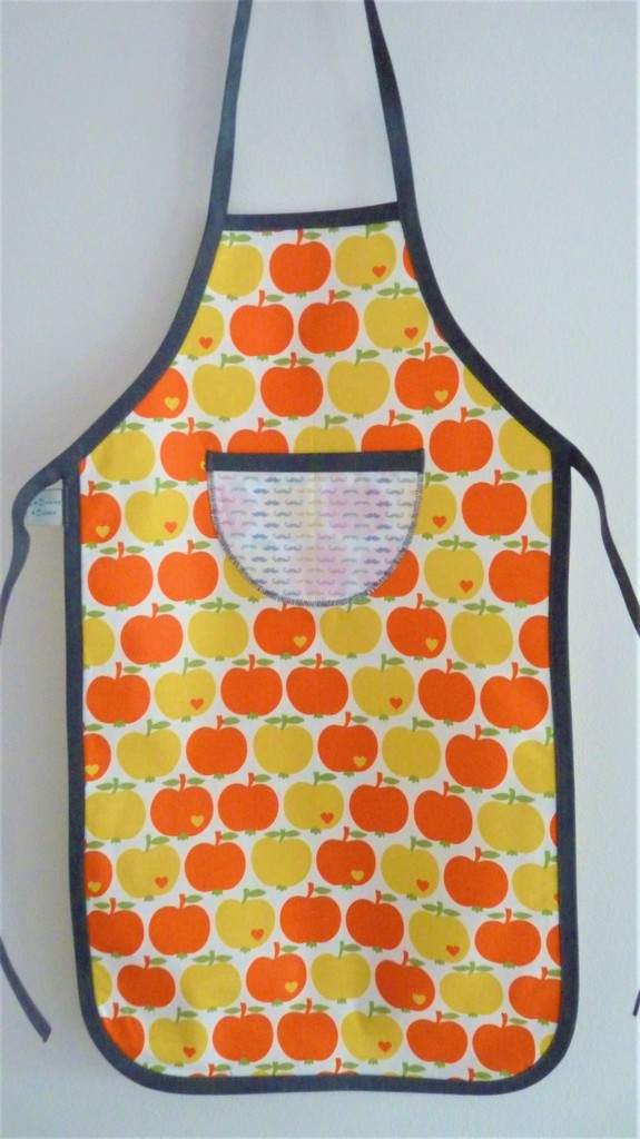 Tablier Pommes Orange/Gris