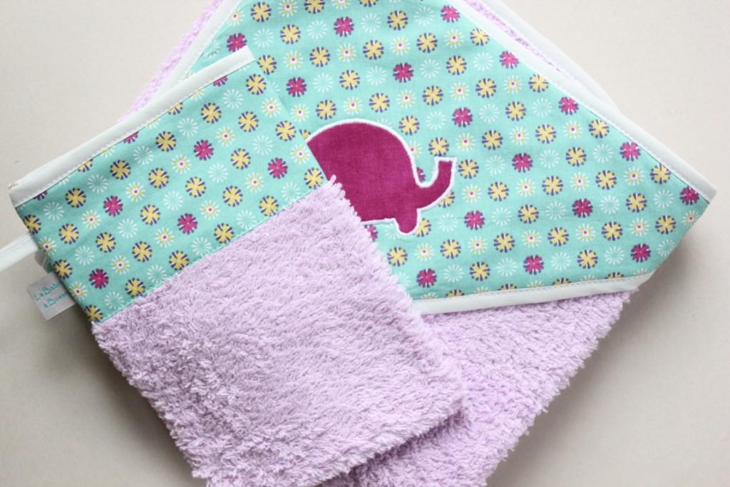 Sortie de bain + gant assorti (Exemple)