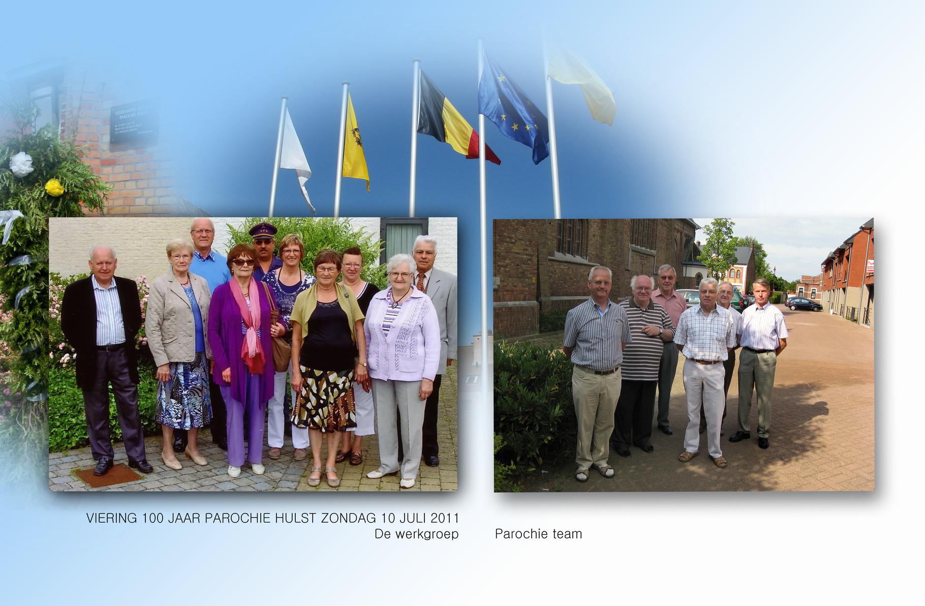 Links de werkgroep. Rechts Het parochieteam
