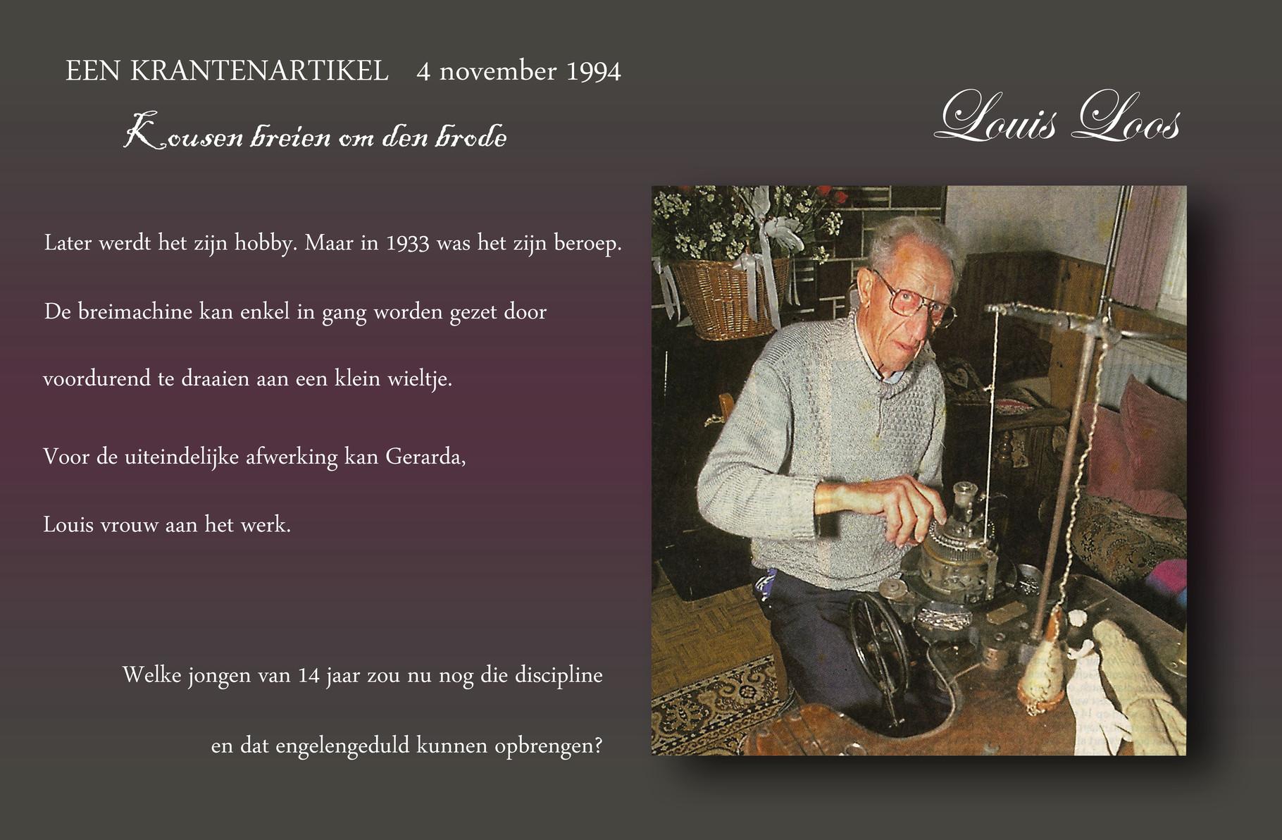 Louis Loos als kousenmaker