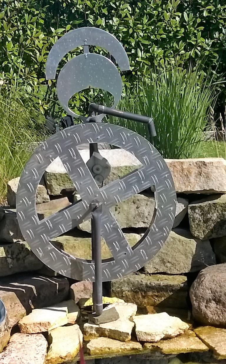 Wasserrad 01 - Dekoidee Haus Garten Gartendekoration, Deko, Garten, Metall, Zink, Zinkkunst, Kunst aus Zink, Kunst aus Blech, Blechkunst