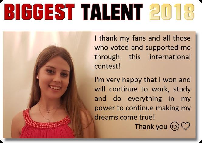 Micaela Abreu aus Portugal wurde zum Biggest Talent 2018 gewählt