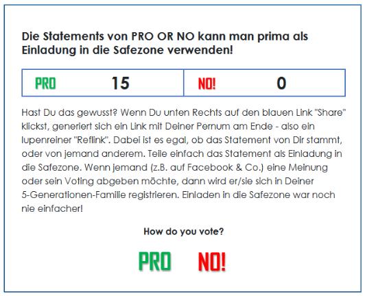 Die Statements von PRO OR NO kann man prima als Einladung in die Safezone verwenden!
