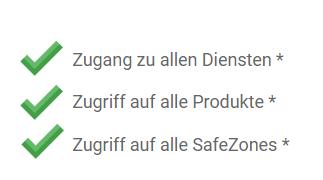 Su SafezonePass verificado también permite el acceso a todos los servicios, acceso a todos los productos, acceso a todas las SafeZones