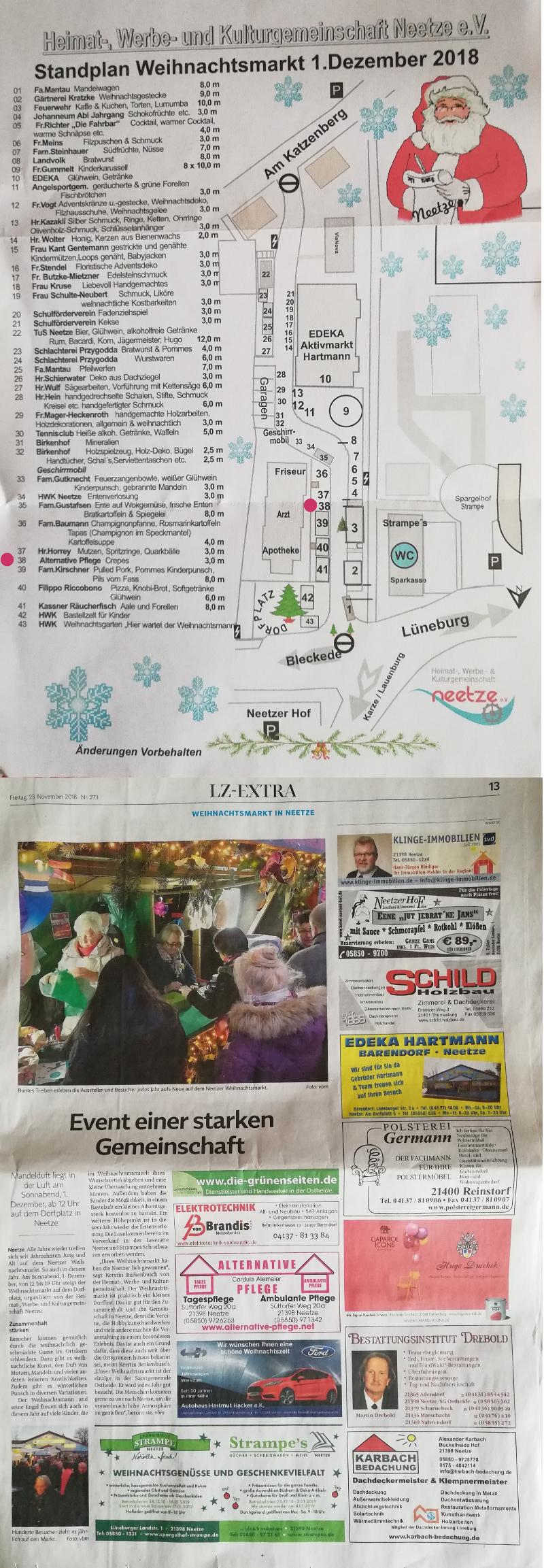 Standplan Weihnachtsmarkt Neetze 2018 + Artikel und Werbung aus Landeszeitung Lüneburg