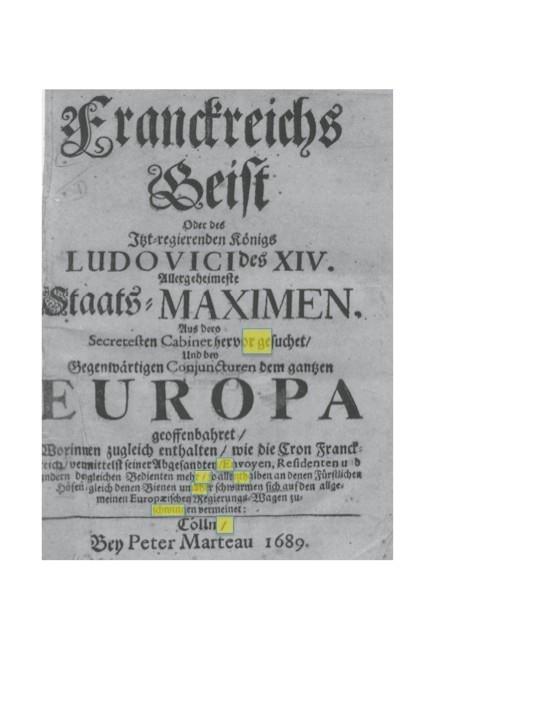 Abweichendes Titelblatt von Franckreichs Geist (1689; Setzvariante GEIST B)