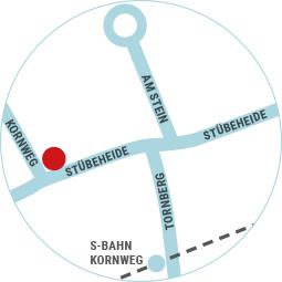 Lageplan der Kornweg - Apotheke in Klein Borstel