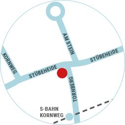 Lageplan der Geschäftsstelle vom Heimatverein Klein Borstel