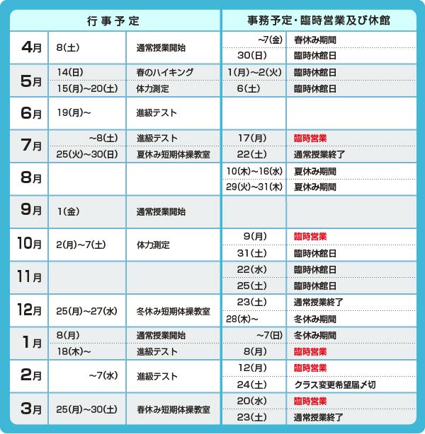 体操教室 年間予定表