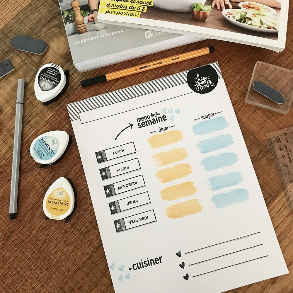 Planification des repas à l'aide d'étampes et tablette de notes