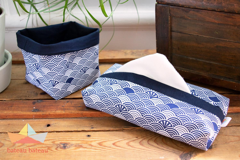 Ensemble de 12 mouchoirs lavables – Japonais / Marine