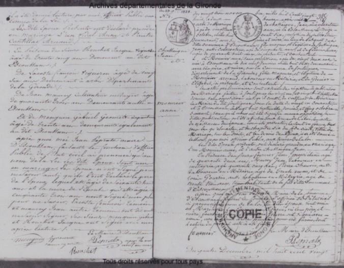 Acte de mariage signé par le maire d'Escoussans, M. Pepratz (un des témoins : M. Rouchet)