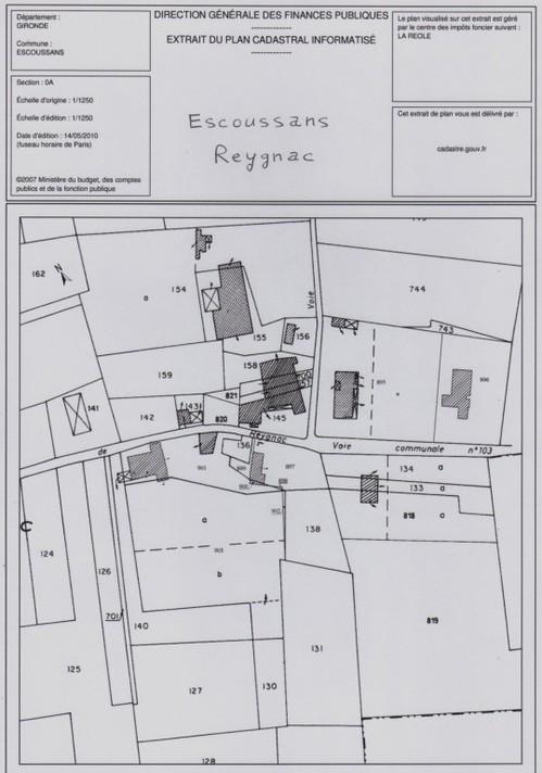 """Plan cadastral d'Escoussans (lieu-dit """"Reygnac"""")"""