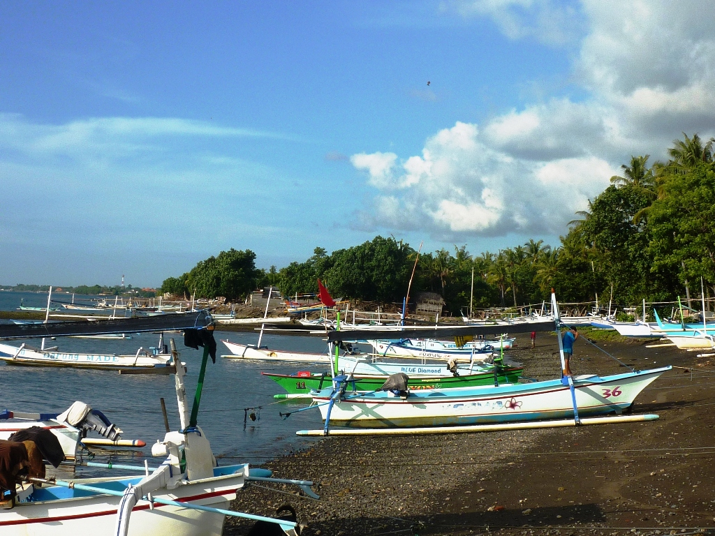 With colourful outrigger boats
